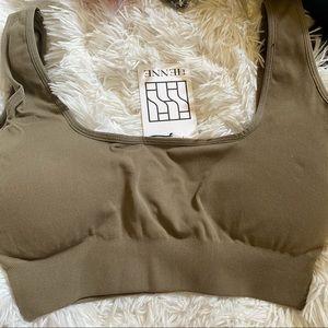 NWT Henne Activewear khaki crop sports bra